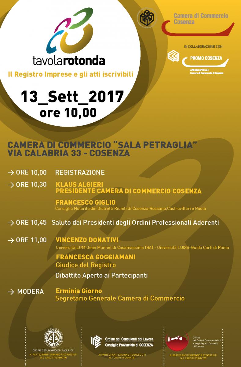 13 settembre 2017 ore 10:00 Tavola Rotonda sul tema