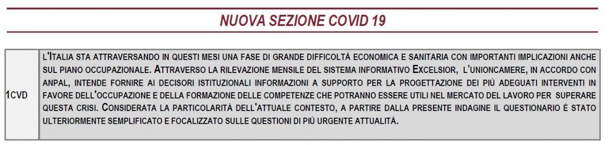 Nuova sezione Covid-19 sul questionario